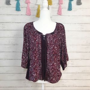 Francesca's Burgundy Ramsey Peasant Blouse Size S